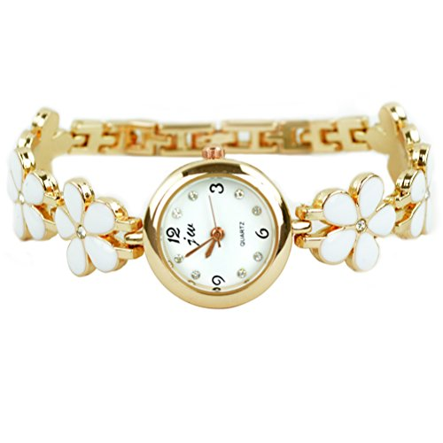 Rbenxia Korean Fashion Daisies Flower Rose Gold Bracelet Wrist Watch Women Girl Gift