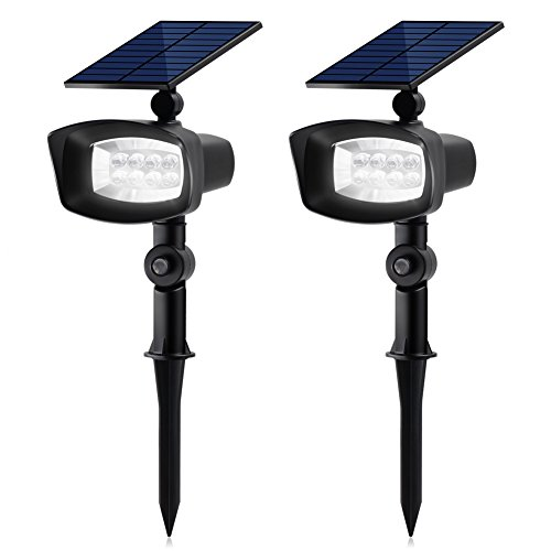 InnoGear Upgraded 8 LED Solar Lights with White and Rotating Through Color Outdoor Landscape Spotlight Security Lighting Dark Sensing Auto On/Off for Patio Yard Garden Driveway Pool Wall, Pack of 2