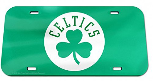 WinCraft NBA Boston Celtics Premium Crystal Mirror License Plate, 6 x 12-Inches, 1/4 in thick plastic by WinCraft