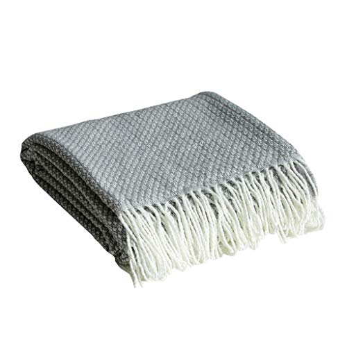 LRXG Sofa Blanket, Nordic Modern Cashmere Microfiber Soft Touch Knit Sofa Bed Armchair Blanket 150200cm (Color : Gray)