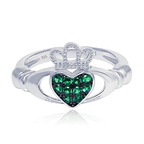 Sterling Silver Claddagh Promise Ring For Her with Simulated Green Emerald, 11mm (7) ()