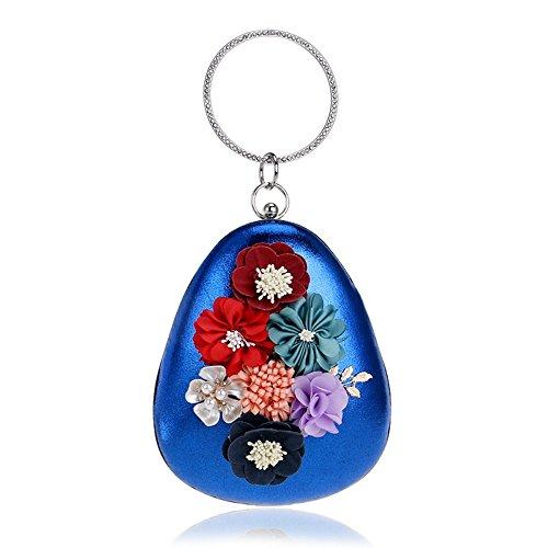 Fleur Sac Petit à Chain Diamants Shell KYS Femmes Bohème Ronde Bag Style Girl Main Embrayage blue Sac Soirée Fashion Sacs de soirée de dAnOqwp
