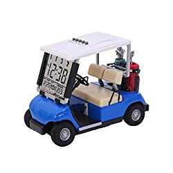 Lightahead Miniature Desktop Golf Cart Buggy with LCD Display Date,Time and Temperature for Great Gift for Fathers Mothers Day Novelty Golf Gifts Souvenir for The Desk (Blue)