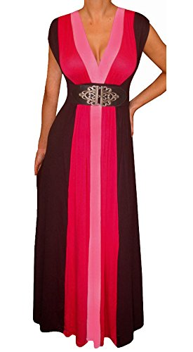 [Funfash Plus Size Women Pink Black Color Block Maxi Dress Made in USA 2x 22 24] (Cheap Plus Size Fancy Dress)