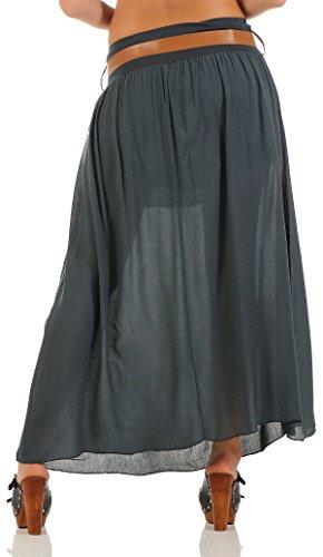 malito falda con cinturón verano tramo Maxi A-línea 17126 Mujer Talla Única gris oscuro