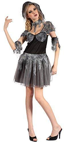 Ladies 4 Piece Sexy Zombie Dead Corpse Bride Halloween Wedding Fancy Dress Costume Outfit UK 10-12-14 -