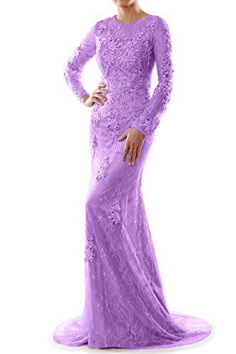MACloth Party Evening Long Women Gown Lavendel Sleeve Wedding Mermaid Lace Formal Dress r7UrFSz