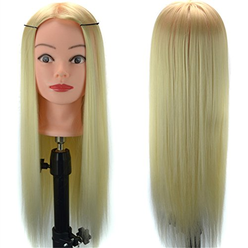Price comparison product image Stepupgirl Cosmetology Mannequin Manikin Training Makeup Face Head with 24 Inch Blonde Synthetic Hair and Clamp