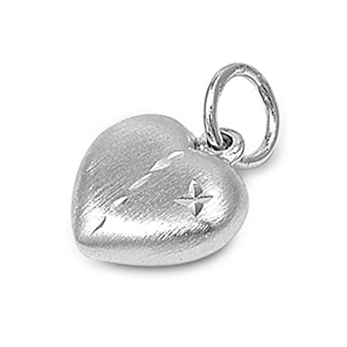 Heart Pendant .925 Sterling Silver Puffer Charm - Silver Jewelry Accessories Key Chain Bracelet Necklace Pendants