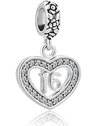 Heart 18 Coming-of-age Sweet 16 Birthday Gifts Charms Crystal Dangle Beads For Bracelets