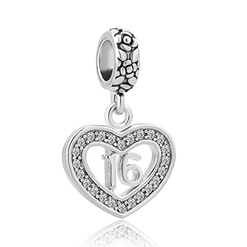 Heart of Charms Happy Birthday Cake Charms Sweet 16 Coming Age of 18 Charms Heart Beads For Bracelet (Heart 16-1)