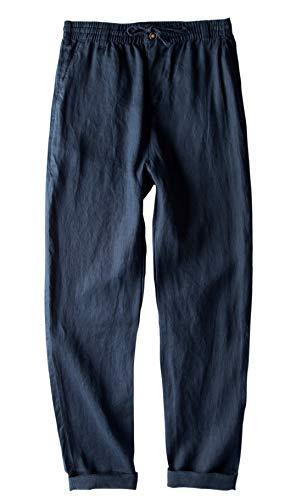 utcoco Men's Casual Stretched Waist Relaxed Fit Lightweight 100% Linen Walk Beach Pant Drawstring (Medium, Navy Blue) -