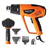 Blackview Heat Gun 1500W Heavy Duty Hot Air Gun with 12-Temp Settings 4 Nozzles 104℉~932℉(40℃- 500℃)with Overload Protection for Crafts, Shrinking PVC, Stripping Paint,Bending Pipes, Lighting BBQ