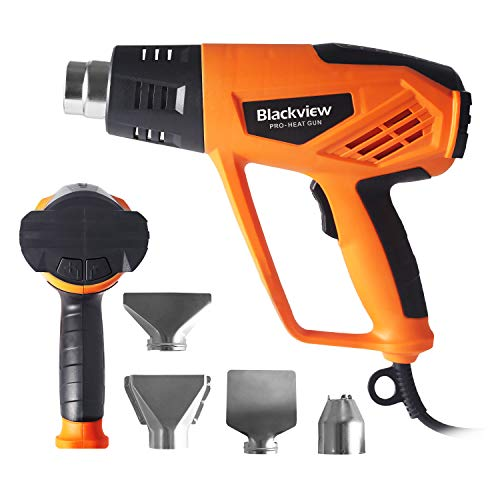 Blackview Heat Gun 1500W Heavy Duty Hot Air Gun with 12-Temp Settings 4 Nozzles 104℉~932℉(40℃- 500℃)with Overload Protection for Crafts, Shrinking PVC, Stripping Paint,Bending Pipes, Lighting BBQ by Blackview