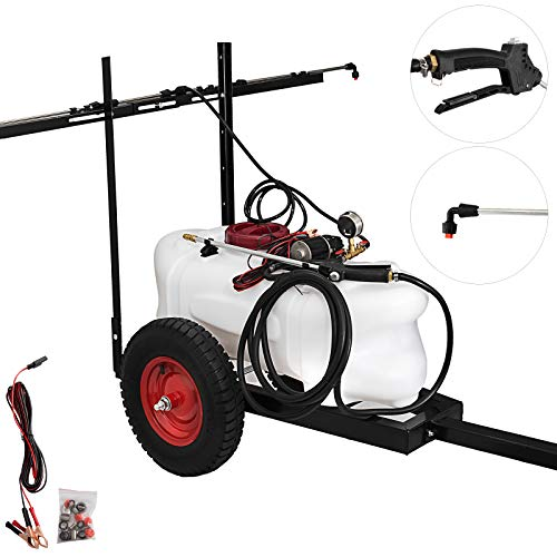 Happbuy Trailer Sprayer 15.8-Gallon Pull Behind Sprayer 12-Volt Tow Behind and Spot Sprayer 5.5 FT for Garden or Farm