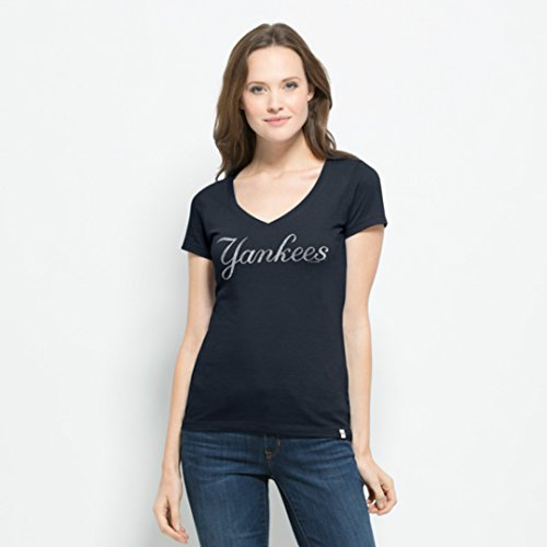 MLB New York Yankees Women's Flanker MVP V-Neck Tee, X-Large, Fall Navy