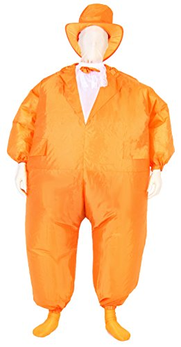 [Tuxedo Tux Adult Orange Inflatable Chub Suit Costume] (Adult Orange Tuxedo Costumes)