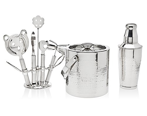 8 Piece Hammered Stainless Steel Cocktail Bar Set - 1 Shaker, 1 Ice Bucket And 5 Tools on Stand (Hammered Stainless Ice)