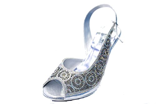 amp; Plateado Uk Sandalias Mujer Sintético Material Plata De Vestir Para Wear Walk TZqvnwxTd