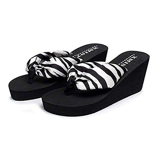 Bohemia Thongs White Slippers Flops High Bottom Summer Beach Wedge Sandals Thick Women's Heel Flip Platform Sandals RdqwxRCO
