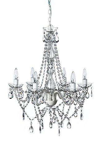 The Original Gypsy Color 6 Light Large Crystal Chandelier H27'' W23'', White Metal Frame with Clear Acrylic Crystals by Gypsy Color