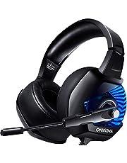 ONIKUMA Stereo Cuffie Gaming per PS4, Xbox One, PC, Nintendo Switch, Cancellazione del Rumore Cuffie Over-ear con Microfono, Morbidi Cuscinetti, Audio Surround, Controllo di Volume/Mic 3.5mm per Mac