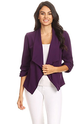 Solid & Printed Open Blazer Cardigan Jacket/Made in USA Purple -