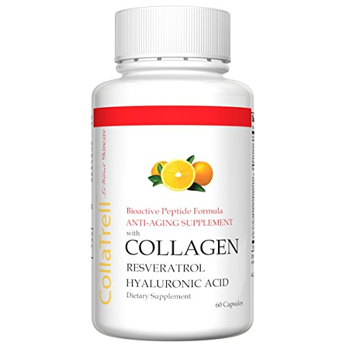 CollaTrell Bioactive Peptides Formula With Collagen, Hyaluronic Acid, Resveratrol, Anti Aging Supplements, Anti Aging Vitamins, Collagen Pills, Collagen Peptides (4) (Bioactive Hyaluronic Acid Complex)