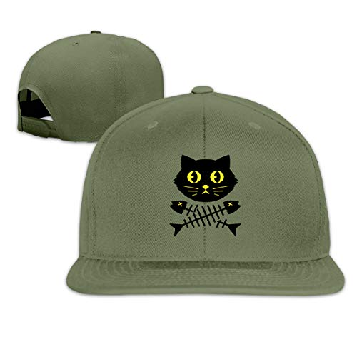 ONE-HEART HR Baseball Cap Black Cat Fish Bone Adjustable Custom Flat Peaked Hat Unisex