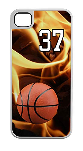 iPhone 6s Case Basketball Bucket Customizable Tough Case by TYD Designs in White Plastic and White Rubber with Team Number 37