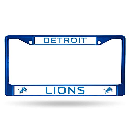 Rico Industries NFL Detroit Lions Team Colored Chrome License Plate Frame, Blue