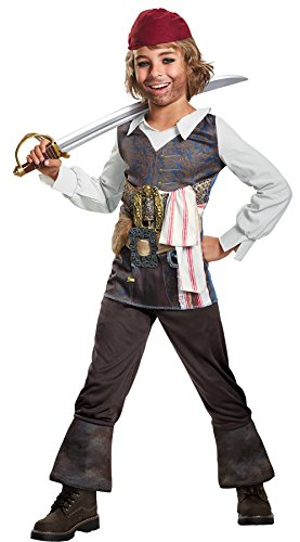 UHC Potc 5 Captain Jack Sparrow Classic Fancy Dress Child Halloween Costume, Child S (4-6)