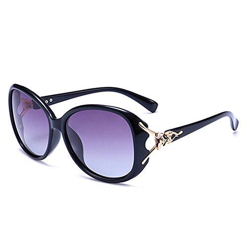 de Protection Gafas Gafas Elegante Moda Estilo de Gradiente Sol Oval 400 UV Black Polarizadas BLDEN Mujer Sol dZqvvxXw