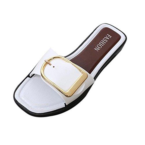 Pantofole Da Donna Per Le Donne, Le Signore Delle Ragazze Adolescenti Fibbia Sandali Aperti Punta Quadrata Balneazione Scarpe Basse Bianche