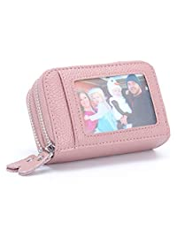 MuLier Genuine Leather RFID Blocking Coin Pouch Card Holder Wallet - Prevent Electronic Credit Card Scan Theft Pink