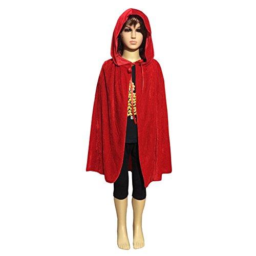 Little Red Riding Hood Halloween Costume Makeup (Qiancheng Children Velvet fabric Cape for Hallween festival, Christmas Custume)
