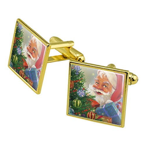 GRAPHICS & MORE Christmas Holiday Santa Behind The Tree Square Cufflink Set Gold Color