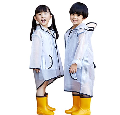 PERTTY Kids Rain Poncho Boys Raincoat Girls Durable Translucent Rain Cape, Outdoor Accessory for Travel, Picnic, Camping, Portable Rain Wear with Hat Hood Unisex for Children, Transparent (L) by PERTTY (Image #1)