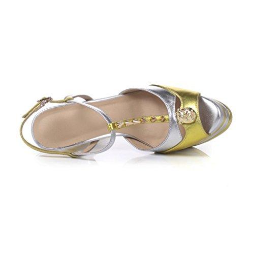 Sandali Alto Tacco Scarpe Da heel Testa Di Yellow Pesce High Girl Donna 15cm Con Rivetti Party Heels fOyTXyc