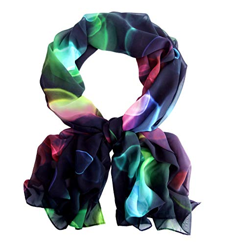 Black Fancy Multicolor Wide Long Chiffon Scarf for Women Evening Wrap Formal Shawl Cocktail Lightweight Stoles Valentine's Mother's day 78