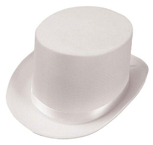 OvedcRay White Satin Top Hat Magician Gentleman Adult Costume Tuxedo Top Hat]()