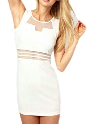 See White Short Womens Tank Dresses Sexy Through Mesh Summer Bodycon Cromoncent vZnH4Txv