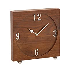 Deco 79 42182 Wood and Metal Table Clock, 10 x 10, Darkbrown/Silver