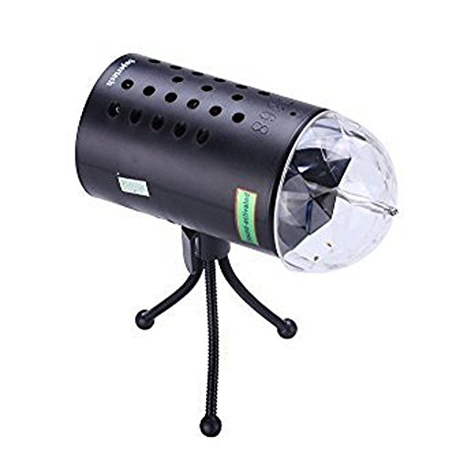 Supertech 3 Color Changing Sound Active With 1PCS Tripod and 1PCS Right Angle Stand 3W Rotating LED RGB Crystal Effect Stage Lights For KTV Xmas Party Wedding Show Club Pub Disco DJ (Xmas Club)
