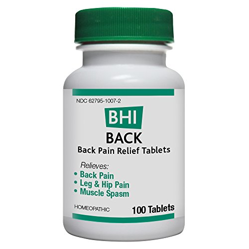 BHI Back Pain Relief Tablets - Homeopathic Formula for Minor Cramp and Spasm Relief - 100 -
