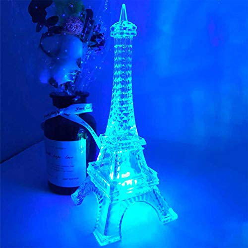 Eiffel Tower Decor Light Colorful LED Nightlight Paris Style Desk Lamp for Bedroom Romantic Birthday Gift for Kids Party Cake Topper 8.7inch Battery Powered (Multicolor) ()