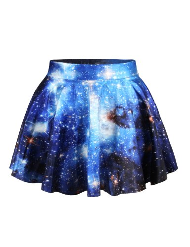 LaSuiveur Womens Blue Galaxy Digital Print Stretchy Flared Pleated Casual Mini -