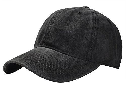 Aivtalk Men's Washed Twill Cotton Baseball Cap Vintage Adjustable Hat - Black Twill Washed