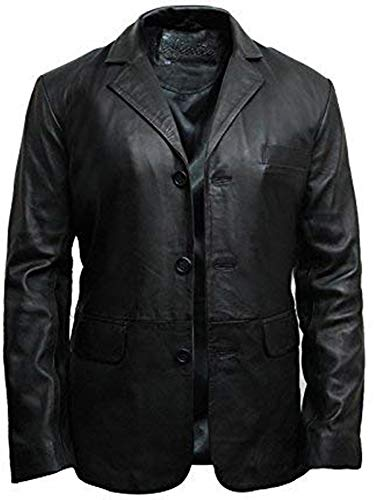 "Brandslock Mens Italian Lamb Skin Genuine Leather Blazer Jacket â-ºBest SELLERâ-"" (X-Small Fits Chest 34-36 inches, Black)"