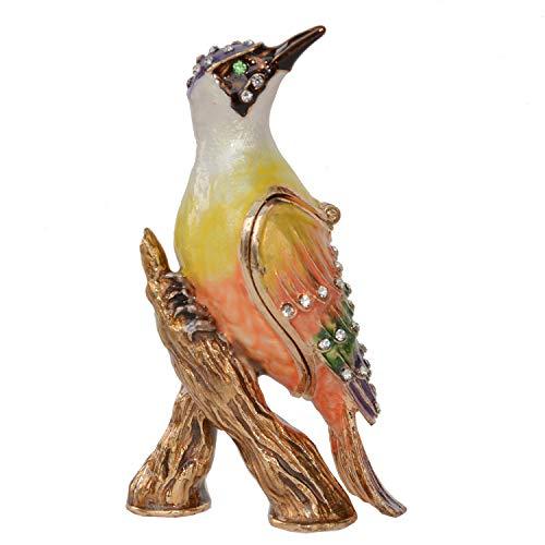 Woodpecker Bird Trinket Box Metal Enameled Animal Figurine Collectable Wedding Jewelry Ring Holder Organizer
